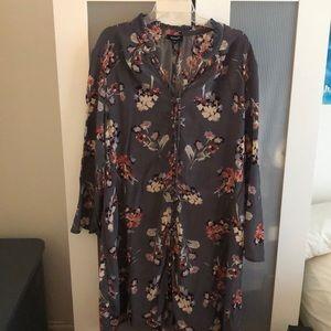 Tolani Gray Floral Silk Tunic Dress Sz 2X